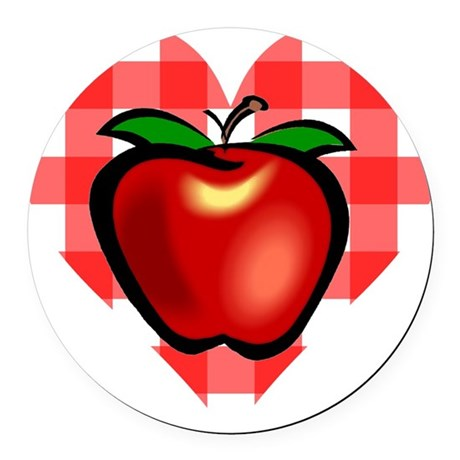 applechecks2.png Round Car Magnet