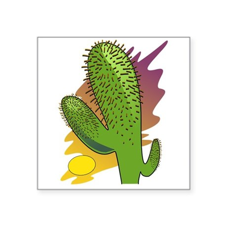 "cactus2b.png Square Sticker 3"" x 3"""
