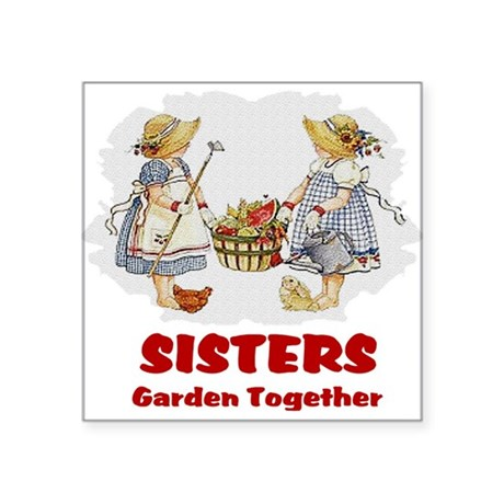 "garden1b.png Square Sticker 3"" x 3"""