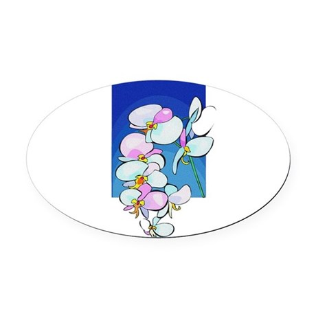 flowers.png Oval Car Magnet