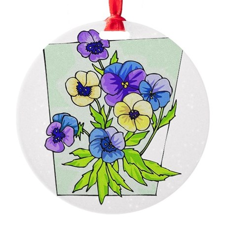 pansies.png Round Ornament
