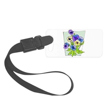 pansies.png Small Luggage Tag