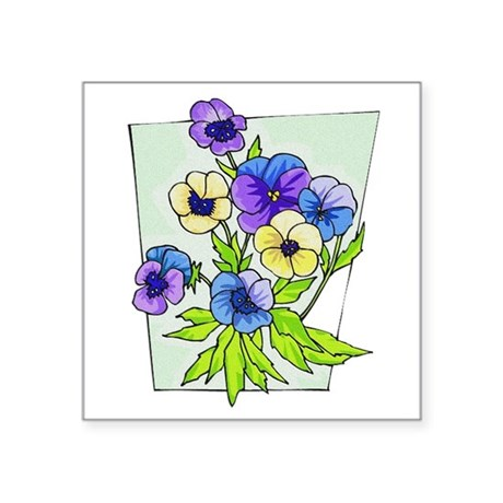 "pansies.png Square Sticker 3"" x 3"""