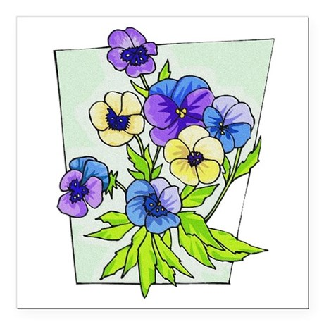 "pansies.png Square Car Magnet 3"" x 3"""
