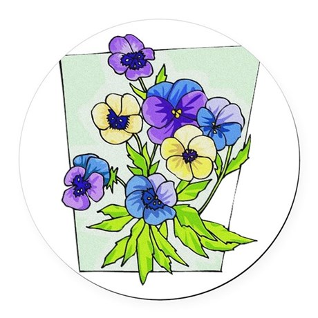 pansies.png Round Car Magnet