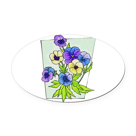pansies.png Oval Car Magnet