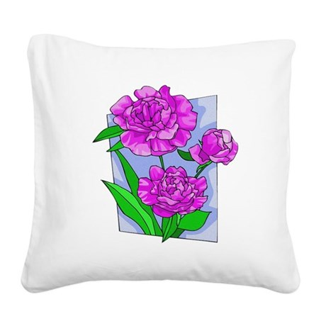 peony2.png Square Canvas Pillow