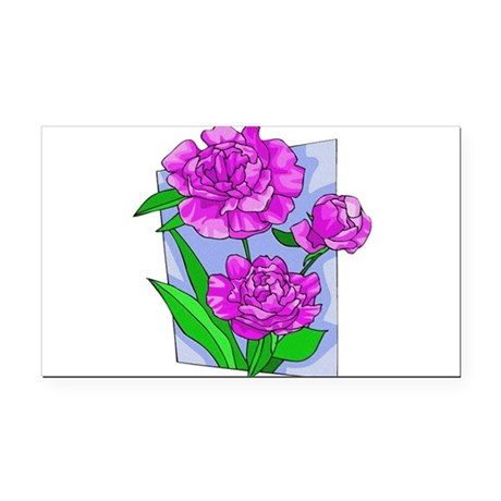 peony2.png Rectangle Car Magnet