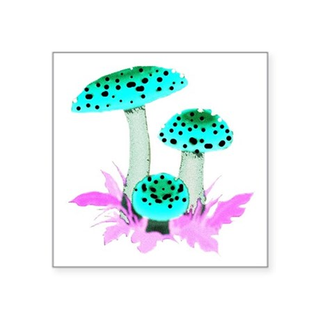 "mushrooms2f.png Square Sticker 3"" x 3"""