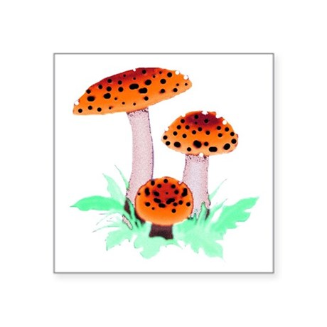 mushrooms2h.png Square Sticker 3&quot; x 3&quot;