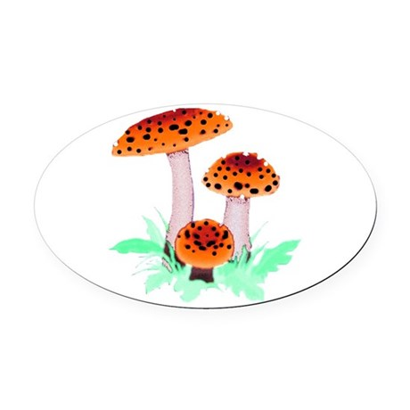 mushrooms2h.png Oval Car Magnet