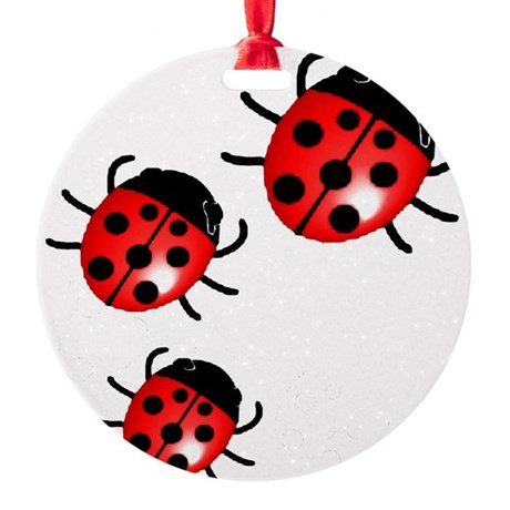 Ladybugs Round Ornament