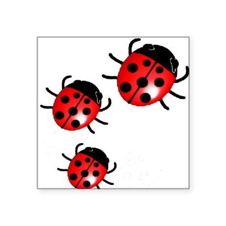 "Ladybugs Square Sticker 3"" x 3"""