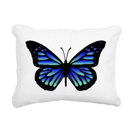 Blue Butterfly Rectangular Canvas Pillow