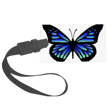 Blue Butterfly Large Luggage Tag