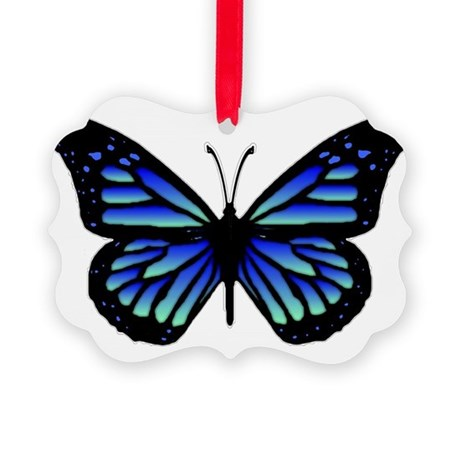 Blue Butterfly Picture Ornament