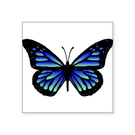 "Blue Butterfly Square Sticker 3"" x 3"""