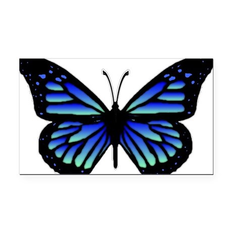 Blue Butterfly Rectangle Car Magnet