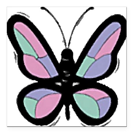 Big Butterfly Square Car Magnet 3&quot; x 3&quot;