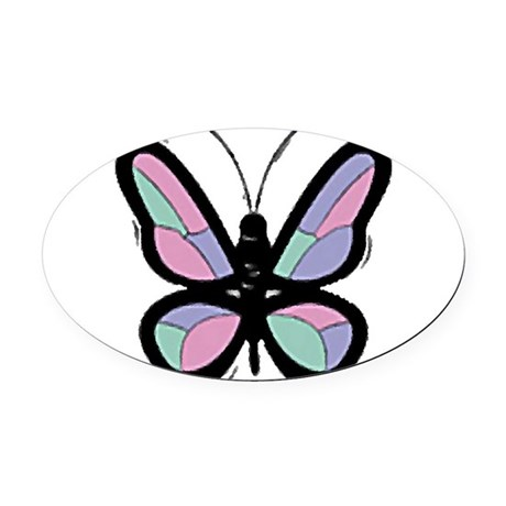 Big Butterfly Oval Car Magnet