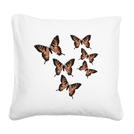 Orange Butterflies Square Canvas Pillow