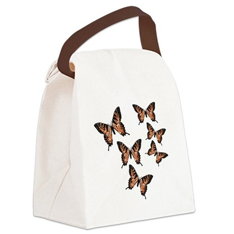 Orange Butterflies Canvas Lunch Bag