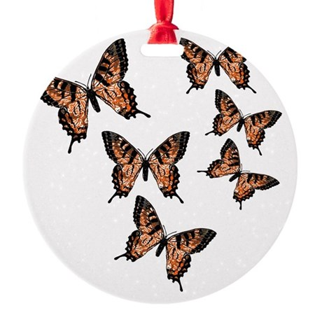 Orange Butterflies Round Ornament