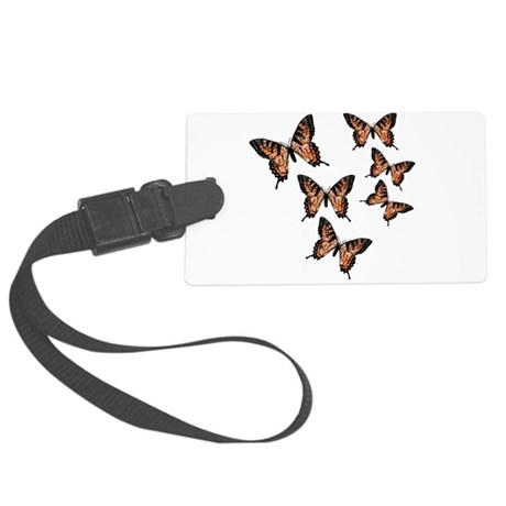 Orange Butterflies Large Luggage Tag
