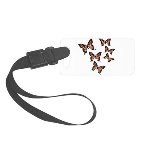 Orange Butterflies Small Luggage Tag