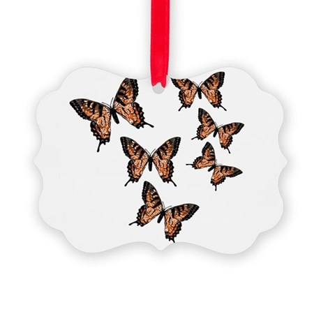 Orange Butterflies Picture Ornament