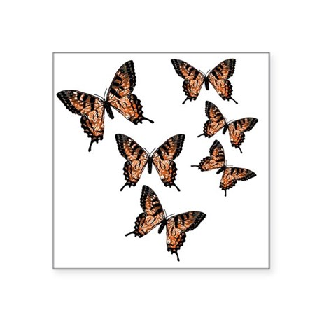 "Orange Butterflies Square Sticker 3"" x 3"""