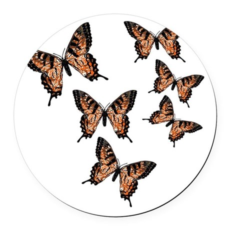 Orange Butterflies Round Car Magnet