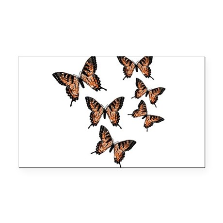 Orange Butterflies Rectangle Car Magnet