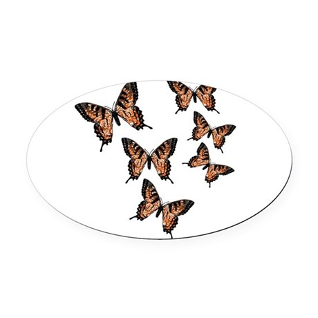 Orange Butterflies Oval Car Magnet