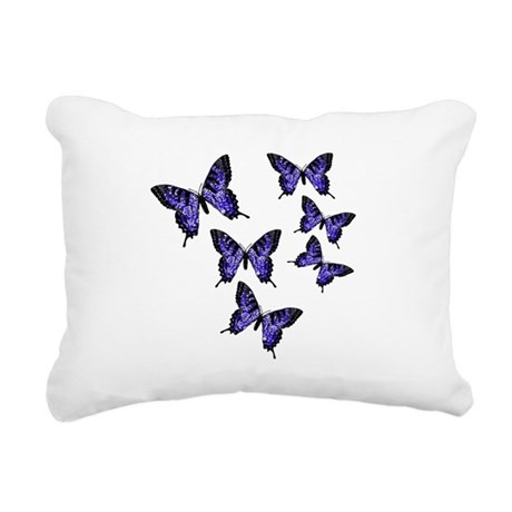 Purple Butterflies Rectangular Canvas Pillow