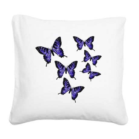 Purple Butterflies Square Canvas Pillow