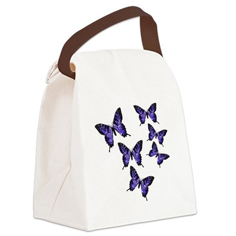 Purple Butterflies Canvas Lunch Bag