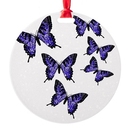 Purple Butterflies Round Ornament