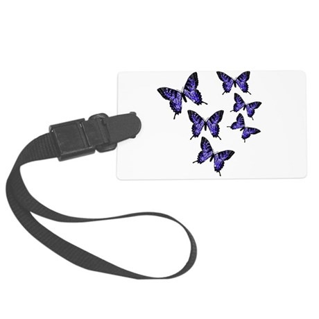 Purple Butterflies Large Luggage Tag