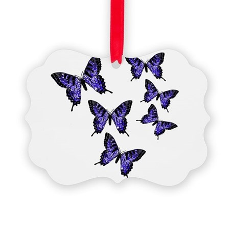 Purple Butterflies Picture Ornament