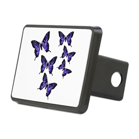 Purple Butterflies Rectangular Hitch Cover