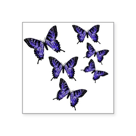 "Purple Butterflies Square Sticker 3"" x 3"""
