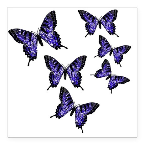 "Purple Butterflies Square Car Magnet 3"" x 3"""