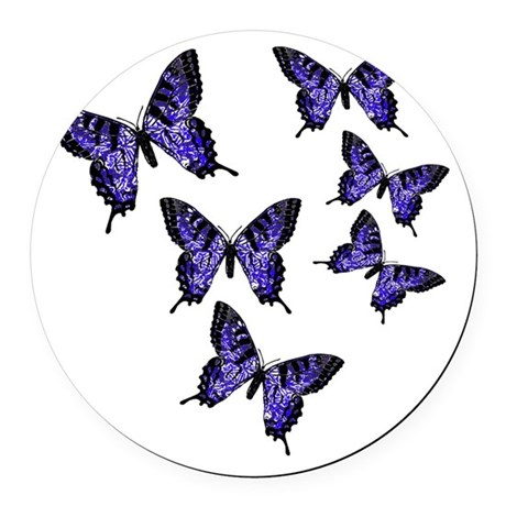 Purple Butterflies Round Car Magnet