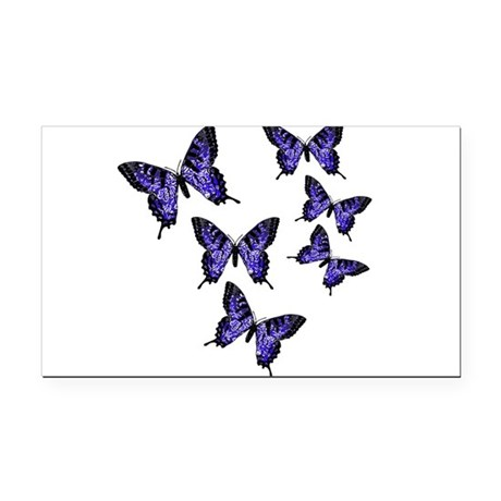 Purple Butterflies Rectangle Car Magnet