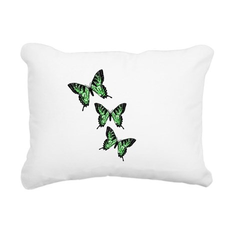 Green Butterflies Rectangular Canvas Pillow
