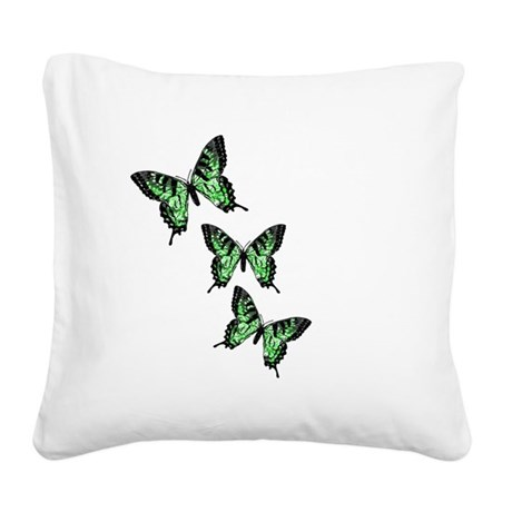 Green Butterflies Square Canvas Pillow