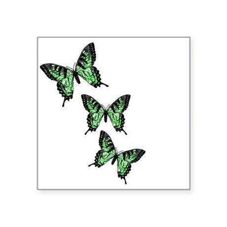 Green Butterflies Square Sticker 3&quot; x 3&quot;