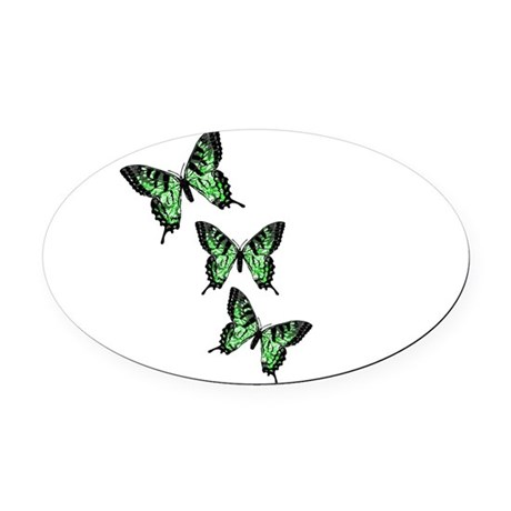 Green Butterflies Oval Car Magnet