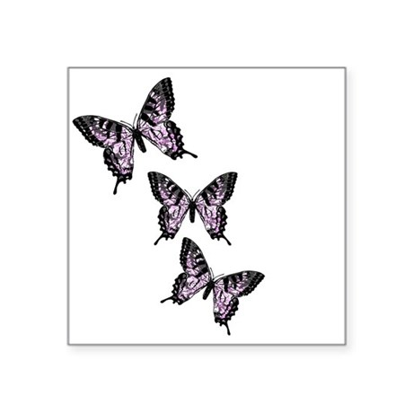 Purple Butterflies Square Sticker 3&quot; x 3&quot;
